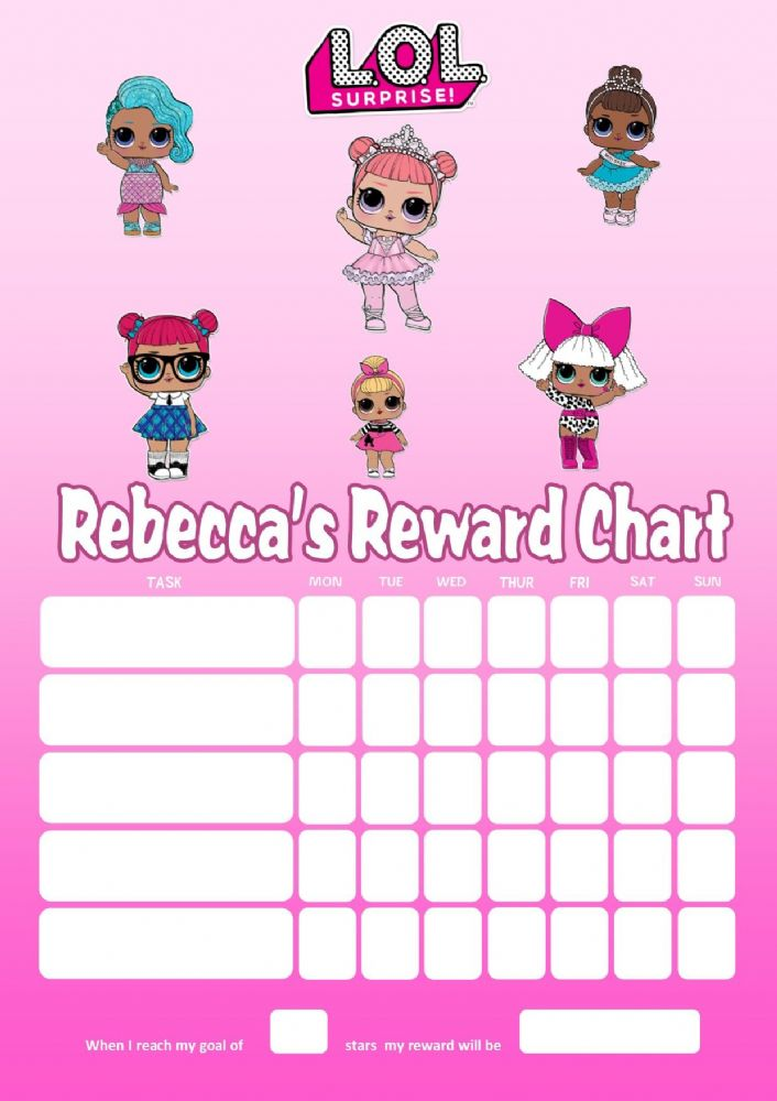 Personalised Lol Dolls Reward Chart Adding Photo Option